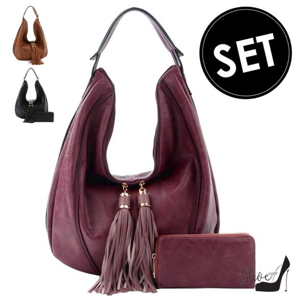 My Bag Lady Online Handbags - Double-Tasseled Hobo Handbag & Wallet Set
